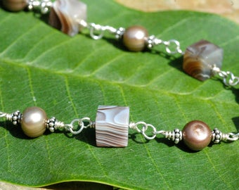 Agate and Pearl Wire Wrapped Sterling Silver Necklace; Mauve, Tan, Gray and Brown Gemstone Necklace