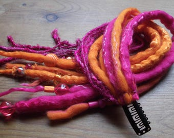 Handmade Felt Hair Falls, Locks, Dreadlock Extensions,Vibrant Pink & Orange Merino Wool,Ooak.