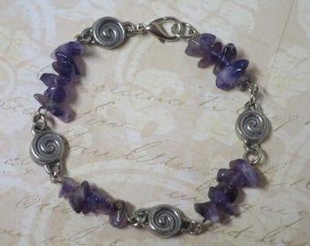 Amethyst beaded bracelet  CCS10