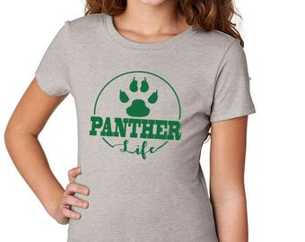 Girls'  Panther Life Shirt - School Spirit - Panthers - Heather Gray Girls T-Shirt
