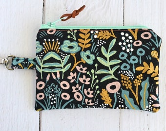 Rifle Paper Co Coin Purse with Swivel Clip/ Mini Zipper Pouch/ ID Card Wallet/ Keychain Coin Purse/ Tapestry Floral