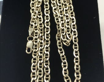 "14K Yellow Gold 3mm MARINER LINK 24"" Necklace Chain BEAUTY!"