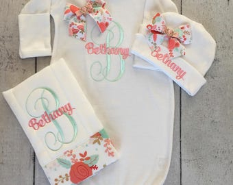 Baby Girl Newborn Gown, Cap and burp cloth set/ Take Home Outfit