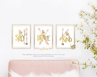Woodland Nursery Decor, Baby Girl Woodland Nursery, Woodland Boho Nursery, Pink and Gold Nursery Art, Boho Nursery Decor