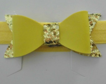 Yellow and Gold Glittery Bow Headband