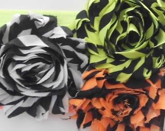3 Piece Stripped Shabby Flower Headband Set