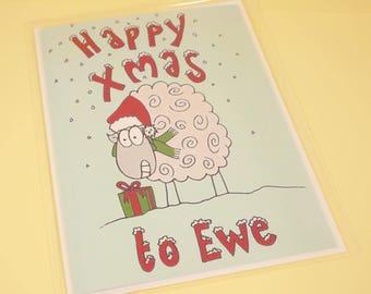 Happy Xmas to Ewe sheepy Christmas card - original illustration, Christmas card, greetings card