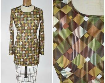 90s Does 60s Mod Mini Dress in Geometric Green, Gold, Brown Print // Swinging London, Carnaby Street, DeeLite Club Kid
