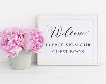 Welcome Guest Book Sign, Welcome Please Sign Our Guest Book Printable, Wedding Welcome Sign, Wedding Guestbook Sign, Instant Download. WC3
