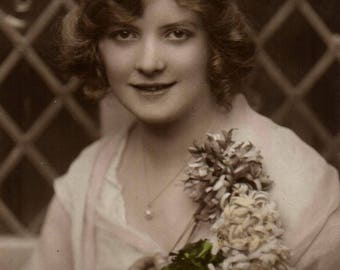 Vintage Postcard Beautiful Lady. Real photo. Rotary Photo London. Unposted