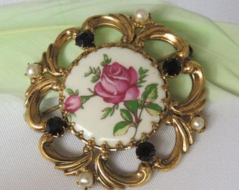Victorian Antique Vintage Porcelain Pin Hand Painted Floral