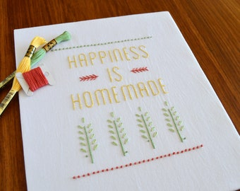 Happiness is Homemade hand embroidery pattern, modern embroidery, inspirational quotes, housewarming gift, embroidery patterns, PDF pattern