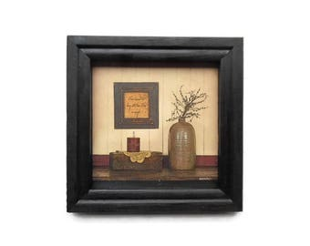 Primitive Picture, I have Learned that Being With Those I love is Enough, Art Print, Home Decor, Handmade, 8X8, Real Wood Frame, Made in USA