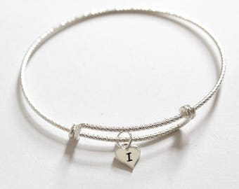 Sterling Silver Bracelet with Sterling Silver I Letter Heart Charm, Silver Tiny Stamped I Initial Heart Charm Bracelet, I Charm Bracelet