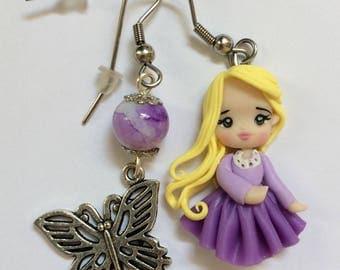 Earrings handmade polymer clay Rapunzel Disney