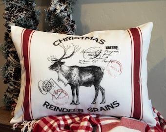Christmas pillow cover, Christmas decor, Moose PIllow Cover, hand drawn, Vintage christmas,  Reindeer pillow cover, 14x20