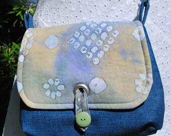Mini Crossbody BoHo Messenger Bag Denim and Batik