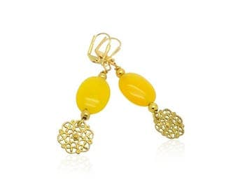 Yellow jade gemstone earrings, Natural stone drop earrings, Christmas gifts for her, Gifts for mom, Gold filigree charms earrings for her