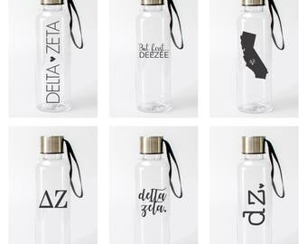 Delta Zeta Water Bottle / DZ Sorority Water Bottles / Pick from 6 Designs / DeeZee Bottle / Delta Zeta Drinkware / Dee Zee Tumbler