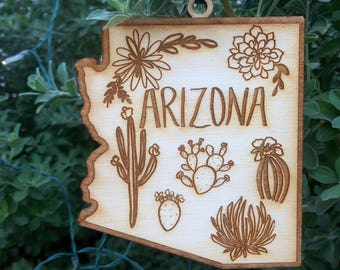 Arizona State Cactus Saguaro Succulent Wood Ornament 4""