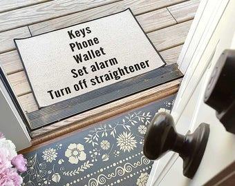 Custom Create Your Own Keys Phone Wallet Doormat Rug Checklist  // Be There in Five Personalized Reminder Doormat, Door mat, Area ru