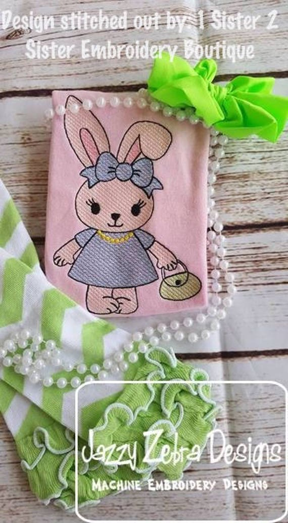 Bunny girl with purse sketch embroidery design - girl embroidery design - bunny embroidery design - Easter embroidery design - rabbit
