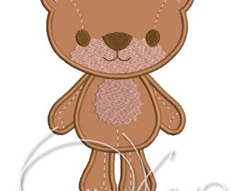 MACHINE EMBROIDERY DESIGN - Bear kid applique and embroidery design
