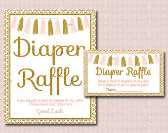 Tassel Baby Shower Diaper Raffle Card insert and Sign, Printable Pink and gold Baby Shower - diaper raffle ticket, INSTANT DOWNLOAD 012