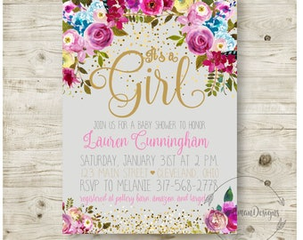 """5x7"""" Baby Girl Shower Invitation, Boho Chic, Floral, Confetti, Gold, Pink, Printable Customizable"""