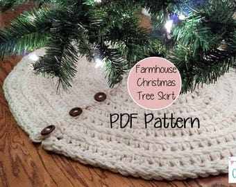 Farmhouse Christmas Tree Skirt Crochet Pattern Decor Rustic