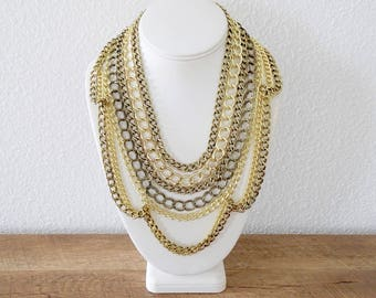 The Vincentia Layered Gold Chain Necklace, Chunky Gold Necklace, Gold Statement Necklace, Multistrand Statement Necklace, Statement Piece