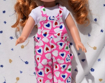 Cute 14.5 inch doll overalls in pink corduroy heart print and white t-shirt
