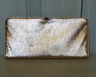 Solid Gold Lame Clutch/Vintage Evening Handbag/1950s Pocketbook/Snap Clasp/Metallic Shiny/Rectangular/Good Condition/lindafrenchgallery