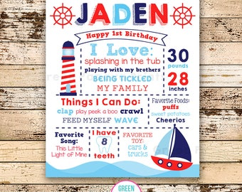 Sailboat First Birthday Poster, Nautical, Birthday Poster, Boat, Printable Sailboat Party Decor, Milestones, Navy, Red, Digital File