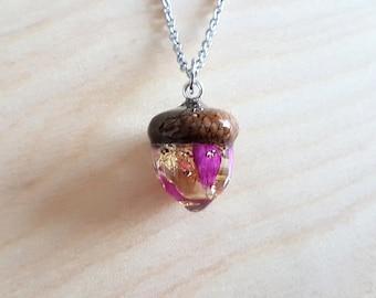 Rose Petals & Gold Flakes Acorn Pendant