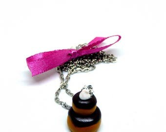 Religious necklace gourmet chocolate and plum bow
