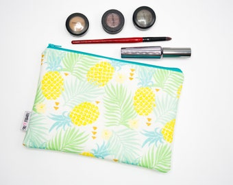 Pineapple Makeup Bag Organizer, Pineapple Gift for Her, Pineapple Bag, Zipper Pouch, Pineapple Clutch Bag, Pineapple Purse, Large Makeup Bag