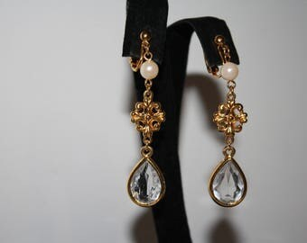 Gold Tone With Pearls and Crystals Tear drop Earrings Vintage Clip- on   Earrings  -