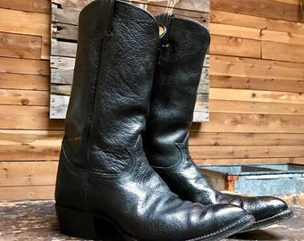 Vintage Tony Lama Black Label Cowboy Boots Vtg Black Leather Western Boots Style 5010 Made in USA Men's Size 9