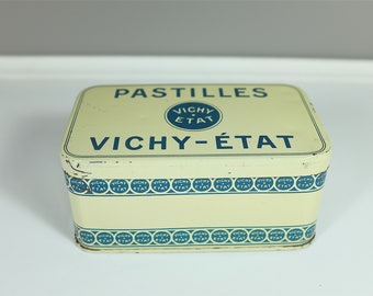 Vintage Vichy tin from France - Sugar container - Retro Vichy metal tin box - Made in France - Printed tin from the 40'