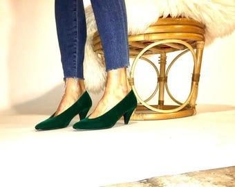 Emerald Velvet Pumps