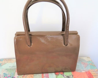 Vintage Ackery Of London Coffee Coloured Patent Leather Handbag 1950s-60s Kelly Bag