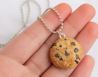 Chocolate Chip Cookie Necklace/Charm Food Jewelry Polymer Clay Realistic