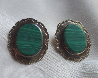 Mexican silver and malachite earrings, TM-142.