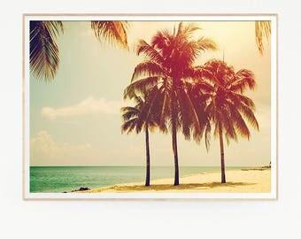 Printable Palm Trees Wall Decor Print Poster Tropical Beach Marine Retro Vintage Colour Photo Nature Sea Minimalist Blue Sky Leaf Sun 1021