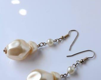 Long Pearl Dangle Earrings - Silver Pearl Earrings
