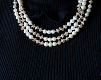 Multi Strand Pearl Necklace -  Pearl Necklace