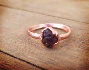 Red Garnet copper electroformed ring