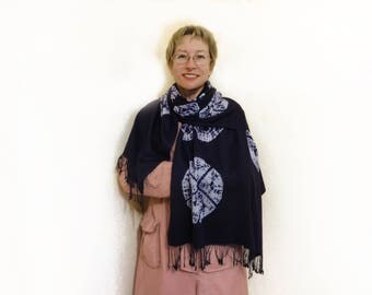 Extra large wool scarf hand dyed Blue white Tie dye shibori Winter warm scarf Fringe shawl stole sarong Shoulder wrap Oversized Bohemian