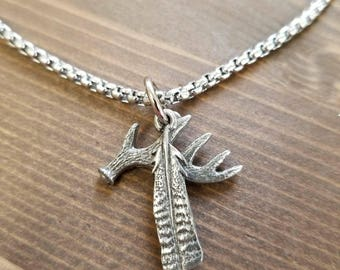 Little D Designs Deer Buck Antler and Turkey Feather 2 Pendant Necklace Stainless Steel Chain Men's Hunting Jewelry USA Free Shipping